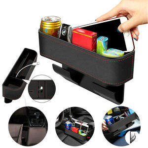 Car Seat Gap Filler Organizer Leather Storage Box With Cup Cell Phone Holder Rd