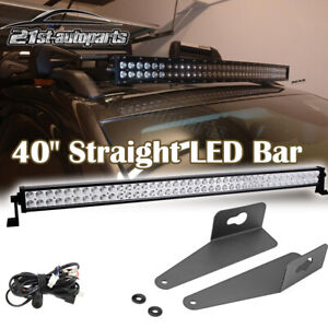 For 14 Up Jeep Cherokee Kl Windshield Roof Rail 40 Straight Led Light Bar Mount