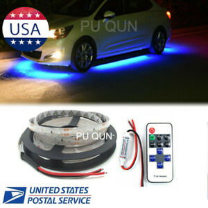 Wireless Control Under Car Led Strip Underbodyunderglow Glow Light Blue 16ft