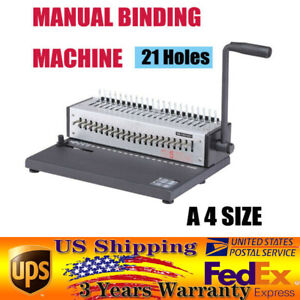 21 Rectangle Holes Binding Machine 200 Sheets Paper Comb Punch Binder Us Stock