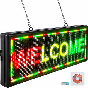 Vevor Led Scrolling Sign 40 x15 P10 Programmable Ryg Message Board With Sling