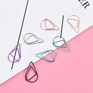 50pieces Metal Drop Shape Paper Clips Kawaii Cute Bookmark Clip Stationery Wyxy