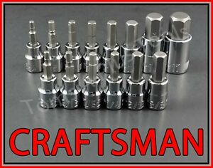 Craftsman 14pc 3 8 1 2 Sae Metric Hex Allen Key Bit Ratchet Wrench Socket Set