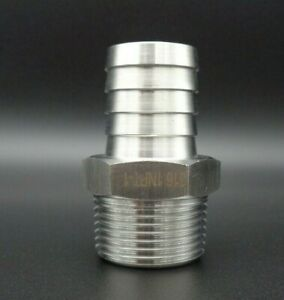 1 Hose Barb Adapter X 1 Npt Male Stainless Steel 316 Hose Tail Straight Nipple
