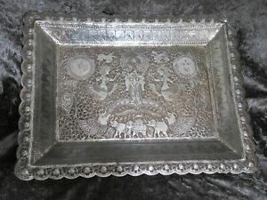 Antique Indian Silver Reticulated Rectangular Tray 639g C1860