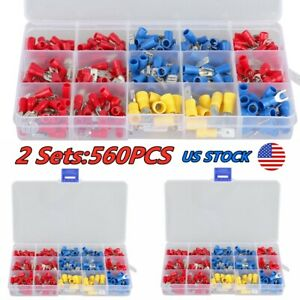 560pcs Assorted Insulated Spade Female male 10 22 Wire Connectors Terminal Kits