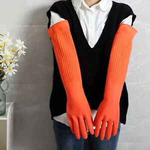 Durable Rubber Cleaning Gloves Latex Long Sleeve Non slip Work Household Kitchen