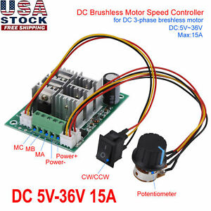 Dc 5v 36v 15a Brushless Motor Speed Controller Cw Ccw Reversible Switch