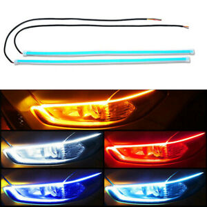 60cm Red Amber Switchback Car Flexible Led Strip Light Drl Flowing Turn Signal
