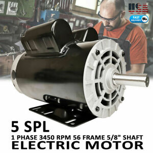 5 Hp Spl 1 Phase 3450rpm Electric Air Compressor Duty Motor 56 Frame 5 8 Shaft