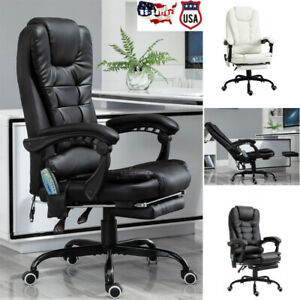 Massage Office Chair W heating Function Leather Swivel Reclining Back Adjustable