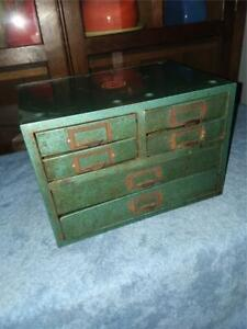 Vintage Wards Master Metal 6 Drawer Shop Parts Cabinet