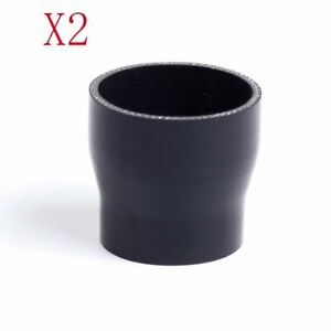Black 2 25 To 2 5 57 63 Mm Straight Silicone Hose Reducer Turbo Coupler 2pcs