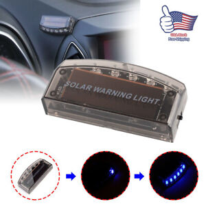 Solar Car Dummy Alarm Warning Stimulated Anti Theft Flashing Blue Led Light