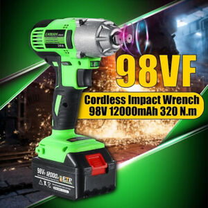 98vf 320nm 12000mah Cordless Electric Power Impact Wrench Drill Led Green
