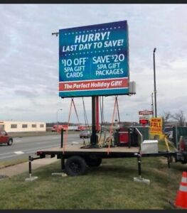 Double Sided 8 x8 Mobile Led Sign W Hydraulic Lift Generator On Trailer