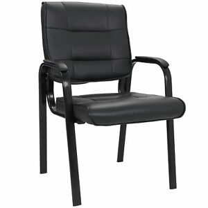 Black Leather Guest Chair Reception Waiting Room Office Desk Side Indoor Classic