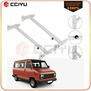 2 Bars Scalable Van Roof Ladder Rack For Chevy Ford Gmc Express Crossbars