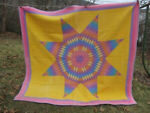 Gorgeous Striking Vintage Patchwork Quilt Texas Star Pattern From Maine Gift