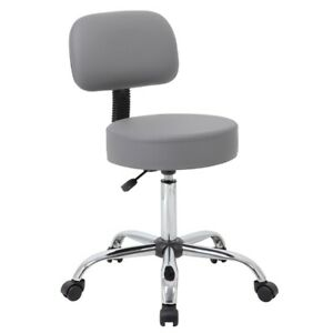 Boss Office Caresoft Medical Lab Rolling Stool With Back