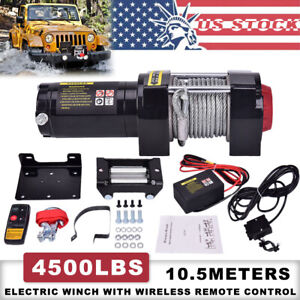 4500lb 12v Atv Utv Winch Electric Remote Waterproof Boat Steel Cable Kit