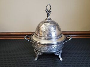 Antique Roger Bros Silver Plate Covered Footed Butter Dome Dish Birds Berries