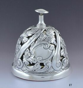 Antique 1904 Art Nouveau Repousse English Sterling Silver Front Desk Bell