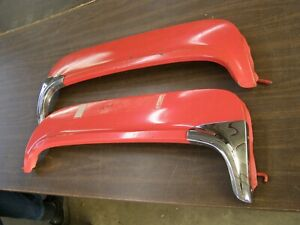 1956 Ford Fairlane Fender Skirts W Stainless Shields Mouldings Trim Crown Vic