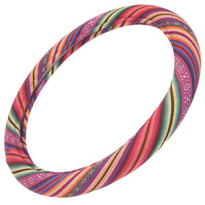 Colorful Woven Cloth Pattern Boho Style Soft Steering Wheel Cover Universal Size