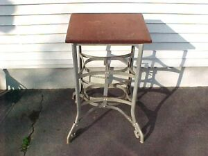 Vintage Industrial Machine Age Steampunk Metal And Wood Table Adjustable Stand