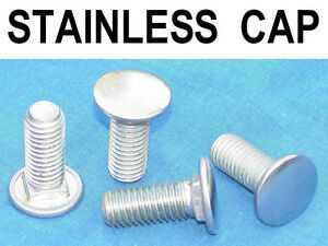 4 Nos Vintage Stainless Steel Cap Bumper Bolts 1 2 13 Carriage Bolt Truck Car
