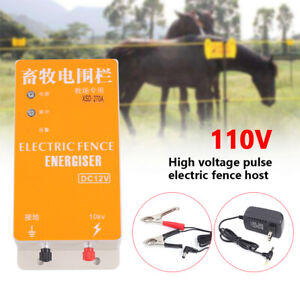Solar Electric Fence Charger Energizer Controller Ranch Animal Orchard 12kv Hot