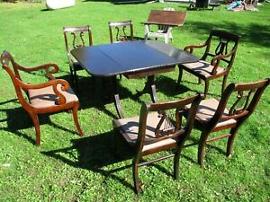 Vintage Antique Duncan Phyfe Mahogany Drop Leaf Dining Table 6 Chairs