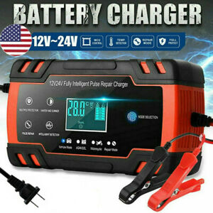 Intelligent Automatic Car Battery Charger 12 24v 8a Pulse Repair Starter Agm gel