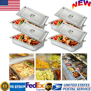 4 pan Full Size 4 Inch Deep Steam Table Pans W Lids Catering Food Warmer Buffet
