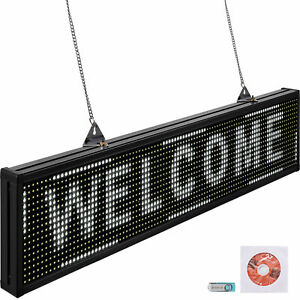 Vevor Led Scrolling Sign 38 x6 5 P10 Programmable White Sign Board With Sling