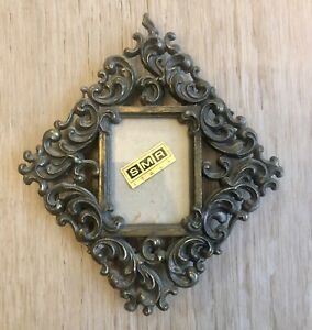 Mid Century Mod Tiny Smr Italy Picture Frame Solid Brass Vintage Mcm Wall Hang