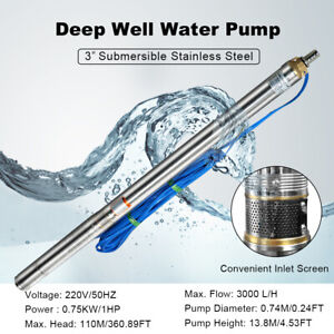 1hp Electrial Submersible Deep Well Pump 360ft 3 Water Pump s steel 20m Cable