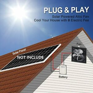 Solar Attic Vent Wall Mount fan Roof Ventilator Greenhouse shed mono Solar Panel