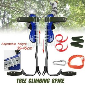 Tree Pole Climbing Tool Safety Steel Belt Straps Lanyard Carabiner Climb