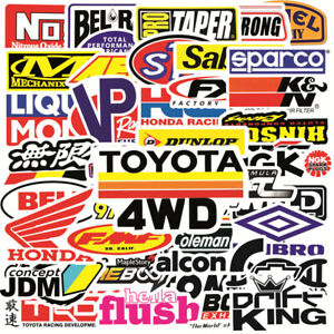 50pcs Jdm Text Racing Cool Car Stickers Pack Motorcycle Motocross Helmet Decals