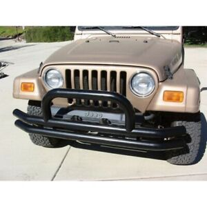Rampage 8620 Front Double Tube Bumper W Hoop Black For 97 06 Jeep Tj New