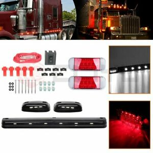 3x Smoke Cab Roof Running White Led Lights For Silverado 2x Red Light Free