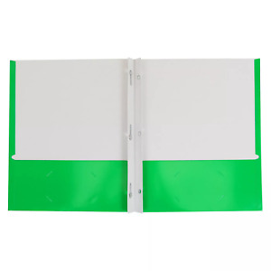Lot Of 100 2 Pocket Paper Folder With Prongs Green Pallex
