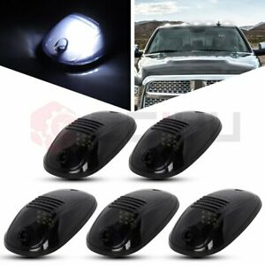 5x Cab Marker Roof Running Light Assembly Smoke Lens White Led For Dodge Ram
