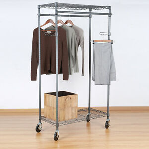 Double Hanging Garment Rack 38 2in Wx 23 6in Dx 66 1in H Gunmetal Finish Gray