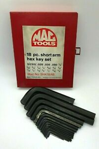 18pc Mac Tools Sae Hex Key Set Lot Allen Wrench 028 5 8 Red Metal Case Shk18