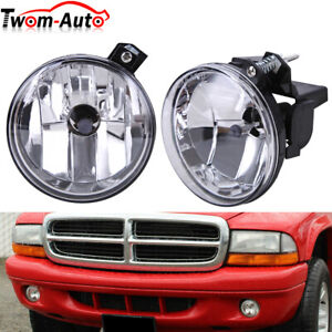 Clear Lens For 01 03 Dodge Durango 2001 2004 Dakota Pair Bumper Fog Lights Lamps