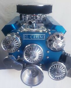 Serpentine Kit Sbc El Camino Polished Chevrolet Front Drive System Blue Anodize