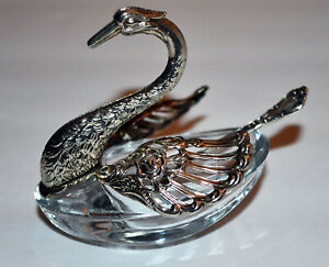 Rare Sterling Silver Swan Salt Cellar W Sterling Silver Spoon A 19